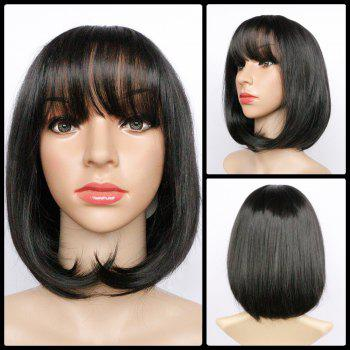 Full Bang Short Fluffy Straight Heat Resistant Fiber Wig