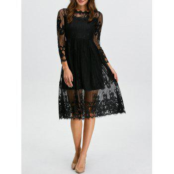 Midi Lace Scalloped Sheer A Line Swing Dress