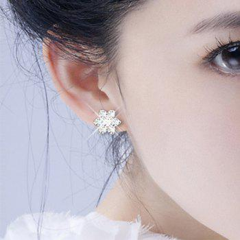 Faux Crystal Snowflake Stud Earrings
