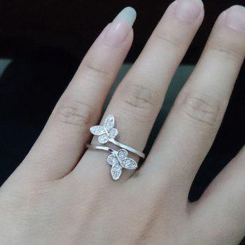 Fake Crystal Embellished Double Butterfly Cuff Ring