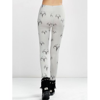 High Waist Elk Print Christmas Tight Leggings - WHITE L
