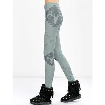Elk Print High Waist Christmas Tight Leggings - LIGHT GREEN XL