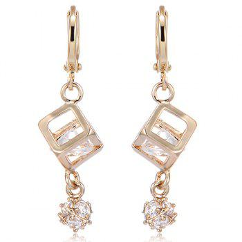Pair of Cube Rhinestone Drop Earrings