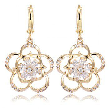 Rhinestone Floral Hollow Out Drop Earrings