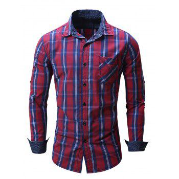 Chest Pocket Plaid Long Sleeve Shirt