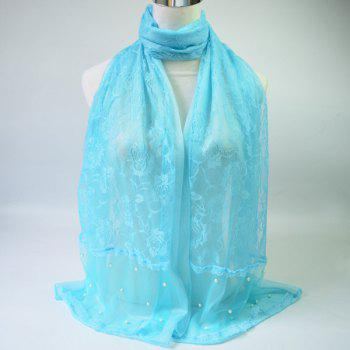 Faux Pearl Embellished Lace Scarf