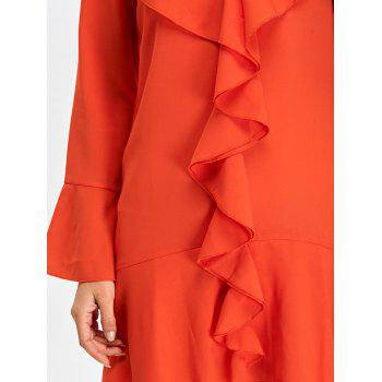 Chiffon Long Sleeve Ruffle Going Out Dress - JACINTH M
