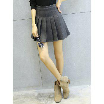 Woollen Blend Pleated Mini Skirt