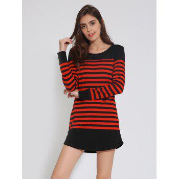 Drop Shoulder Striped Tunic Dress with Buttons