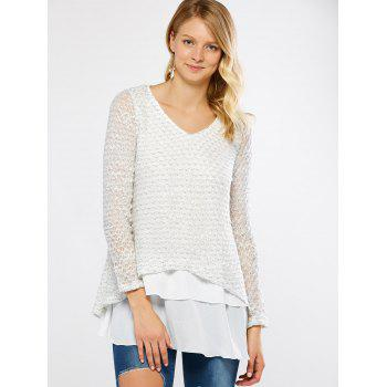 V Neck Layered Long Sleeve Pullover Sweater - WHITE 5XL