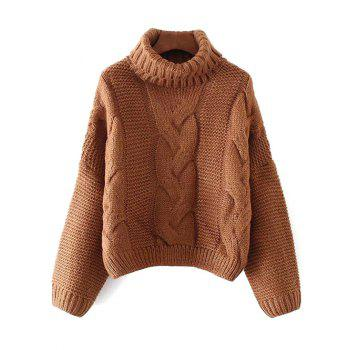 Oversized Turtle Neck Cable Knit Sweater