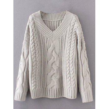 V Neck Pullover Cable Knit Sweater