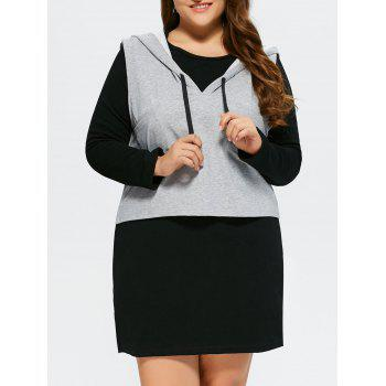 Plus Size Long Sleeve Dress With Sleeveless Hoodie