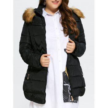 Plus Size Long Fur Trim Hooded Coat