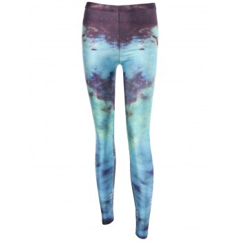 Ombre Color Galaxy Print High Waist Leggings