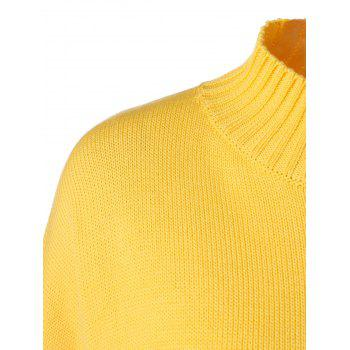 Plus Size Mock Neck Ribbed Sweater, YELLOW, XL in Plus Size ...