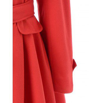 Layered Double Breasted Skirted Pea Coat With Belt - RED M