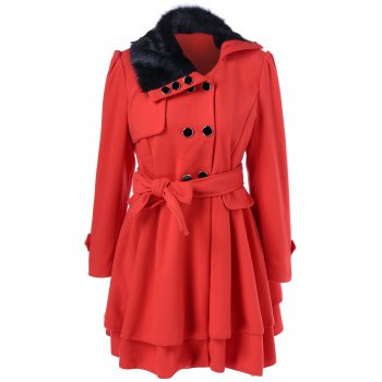Layered Double Breasted Skirted Pea Coat With Belt