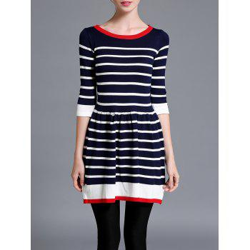 Striped Contrast Sweater Skater Dress