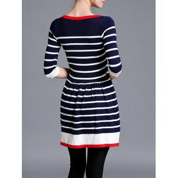 Striped Contrast Sweater Skater Dress - STRIPE ONE SIZE