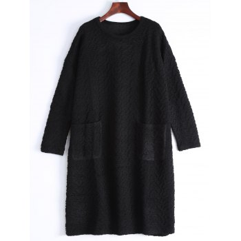 Jacquard Plus Size Sweater With Pockets