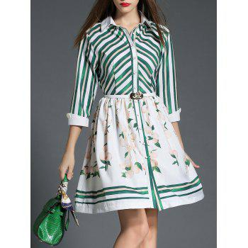 Striped Fruit Print Button Up Dress
