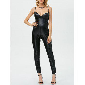 Sleeveless Open Back Faux Leather Jumpsuit