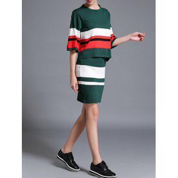 Contrast Sweater and Striped Skirt Twinset - GREEN GREEN