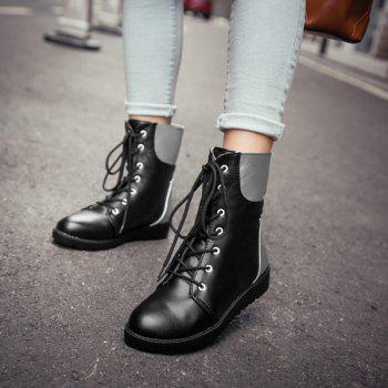 Flat Lace Up Color Block Ankle Boots - 38 38