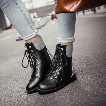 Flat Lace Up Color Block Ankle Boots - BLACK BLACK
