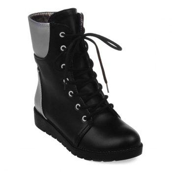 Flat Lace Up Color Block Ankle Boots - BLACK 38