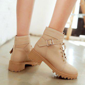 Lace Up Cross Strap Buckle Ankle Boots - 39 39