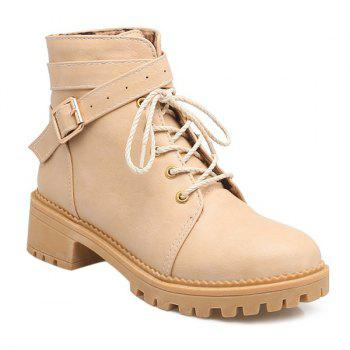 Lace Up Cross Strap Buckle Ankle Boots - APRICOT APRICOT