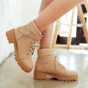 Lace Up Cross Strap Buckle Ankle Boots - 38 38