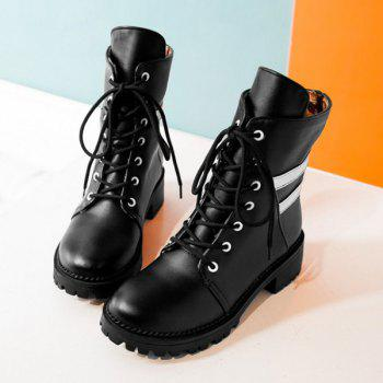 Lace Up Panel Ankle Boots - 38 38