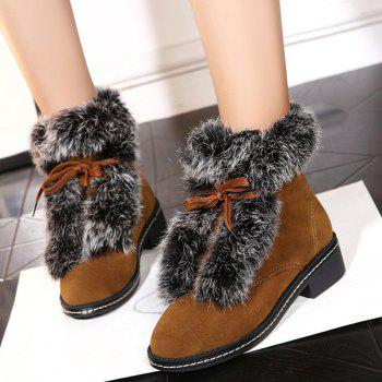 Suede Lace Up Faux Fur Ankle Boots - BROWN BROWN