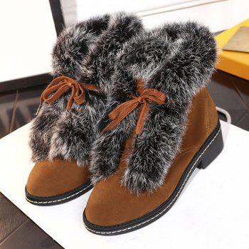 Suede Lace Up Faux Fur Ankle Boots - 38 38