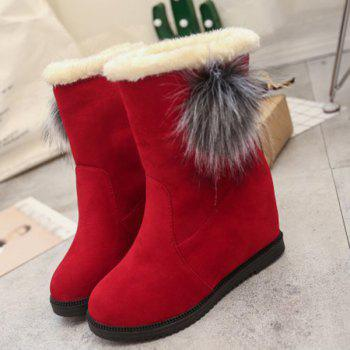 Wedge Mid Calf Boots with Pom Poms - 39 39
