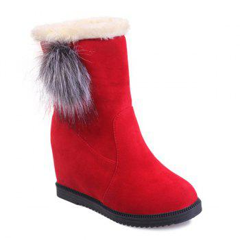 Wedge Mid Calf Boots with Pom Poms - RED 39
