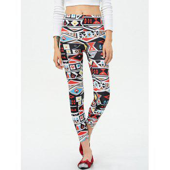 Mid Rise Patterned Stretchy Leggings