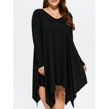 Asymmetrical V Neck Casual Smock Dress