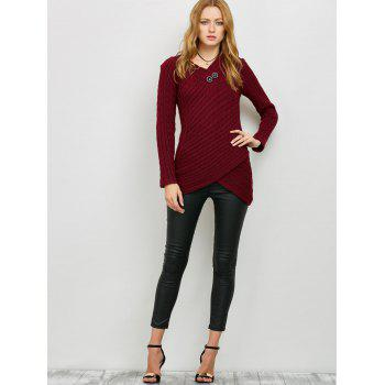 Button Decorated Overlap Sweater - BURGUNDY XL
