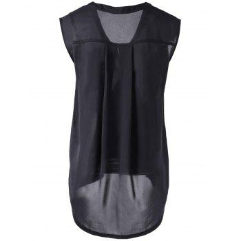 Stylish Asymmetric Collar Black Blouse For Women - BLACK M