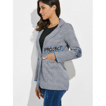 One Button Letter Embroidery Blazer - GRAY GRAY