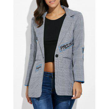One Button Letter Embroidery Blazer - GRAY S