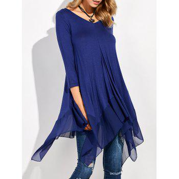 Long Sleeve Asymmetrical Handkerchief Long T-Shirt