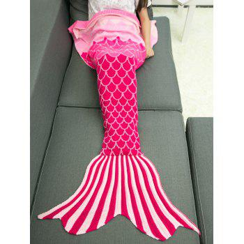 Soft Ombre Color Knitting Fish Scales Design Mermaid Tail Style Blanket
