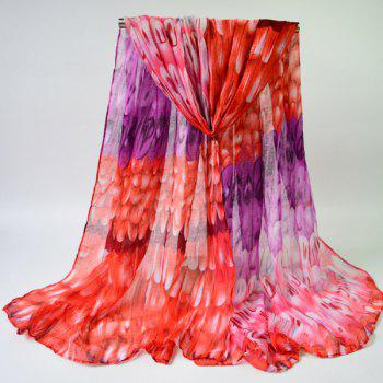 Buy Feathers Print Shawl Wrap Voile Scarf PURPLE