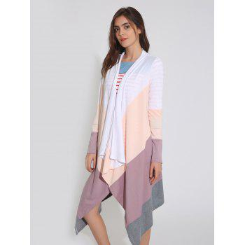 Color Block Handkerchief Drape Duster Cardigan