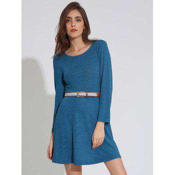 Long Sleeve Plain Dress with Belt
